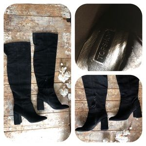 TOPSHOP Bounty Leather Suede Over the Knee Boot